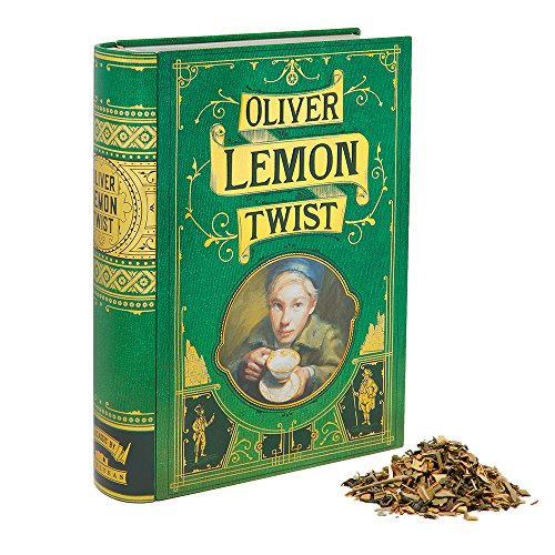(NovelTea Tins | Oliver Lemon Twist | 2 oz Organic Lemon Ginger Tea Inspired by Charles Dickens In Decorative Tea Book Tin Container)