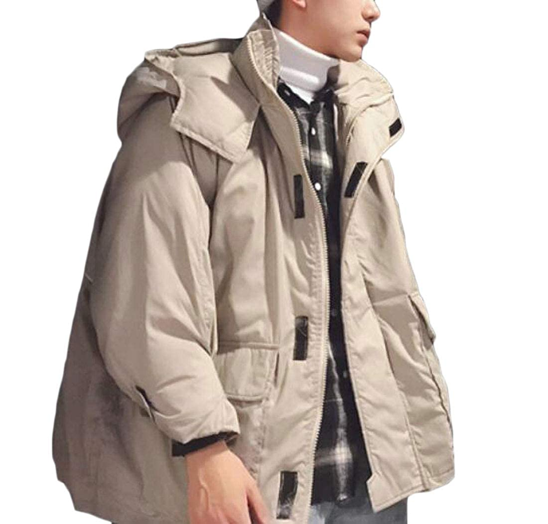 Pandapang Mens Cotton-Padded Oversize Hooded Zip Thick Parka Jacket Coat