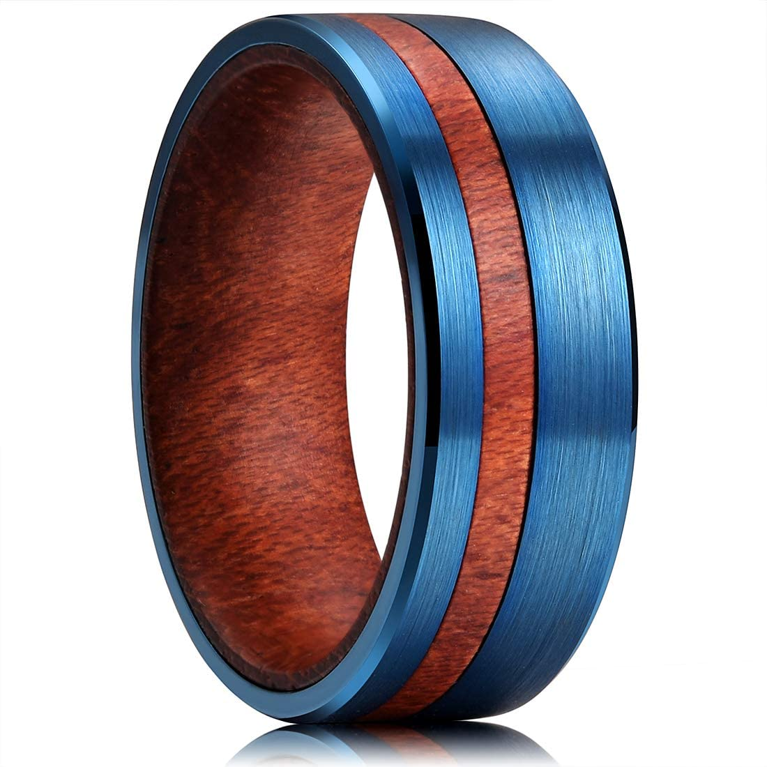 King Will 8mm Tungsten Carbide Ring Inner Hole Inlaid Wood Thin Brushed Comfort Fit Blue/Metal/Gold
