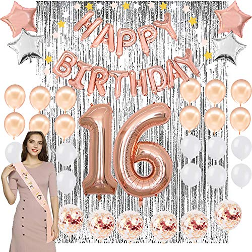 16th Birthday Party Decoration Kit - Assorted Rose Gold Mylar Balloons, Banner, Confetti, Stars, Sash, Garland & Silver Foil Curtain Decor |Happy Sweet Sixteen 16 Bday Prop Supplies for Girls  ()