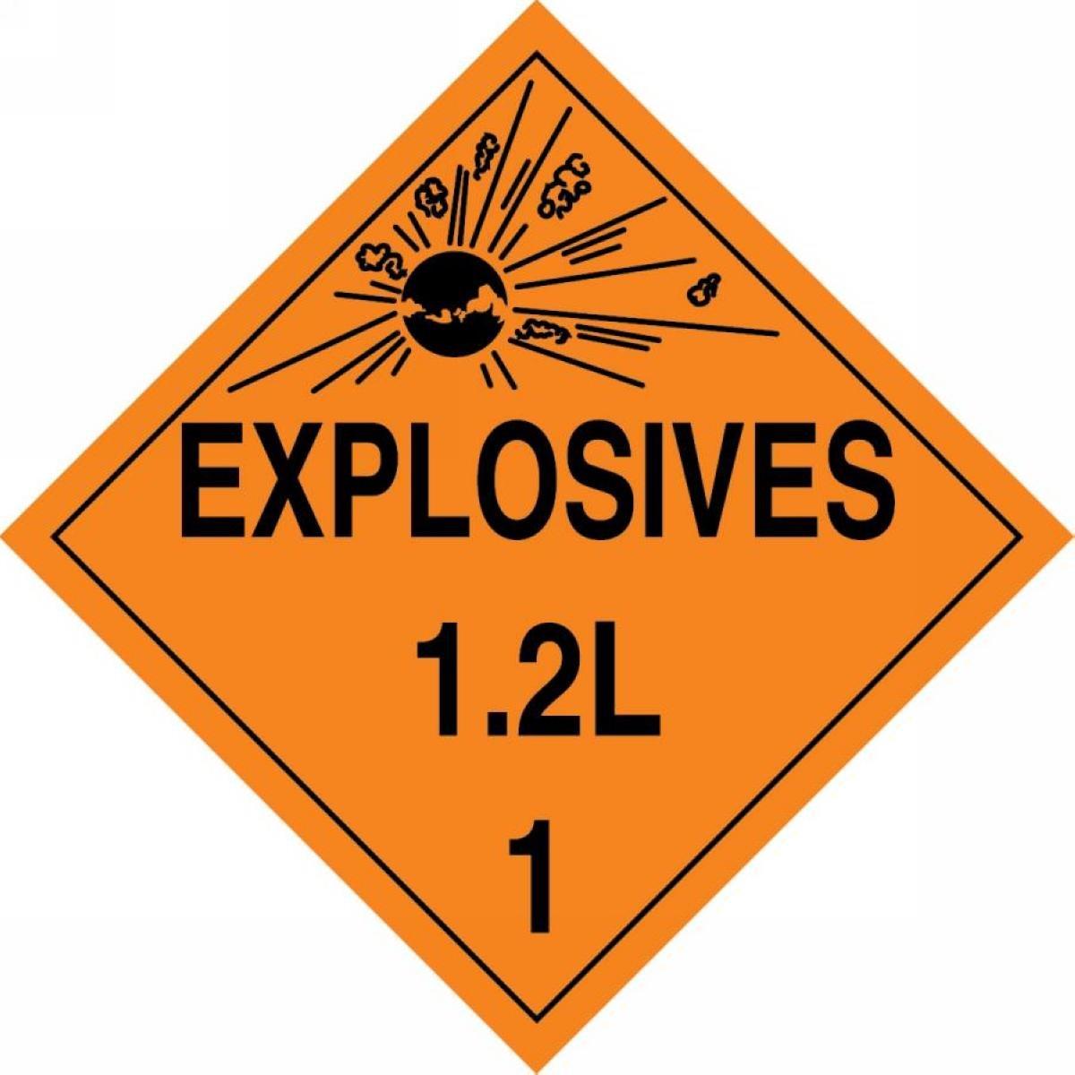 LegendEXPLOSIVES 1.2L 1 with Graphic Accuform MPL119VP100 Plastic Hazard Class 1//Division 2L DOT Placard 10-3//4 Width x 10-3//4 Length Pack of 100 Black on Orange