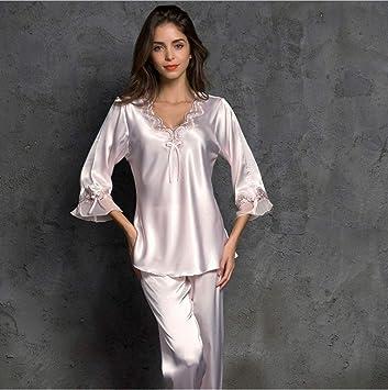 LCTCSY Batas de Seda largas para Mujer Clásico Satén Boda Albornoces Ropa de Dormir (Color : Lotus Color, Tamaño : L): Amazon.es: Hogar