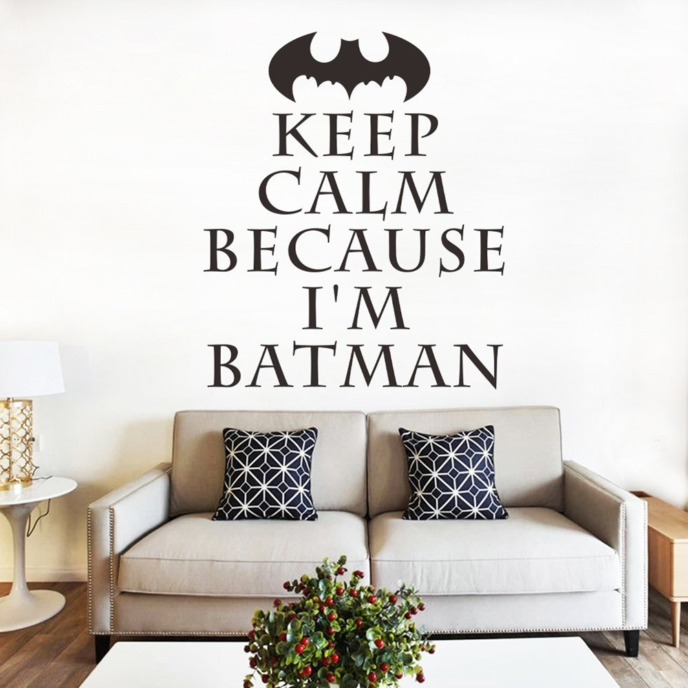 ufengke® KEEP CALM Batman Quotes and Sayings Wall Decals, Living Room Bedroom Removable Wall Stickers Murals Ufingo