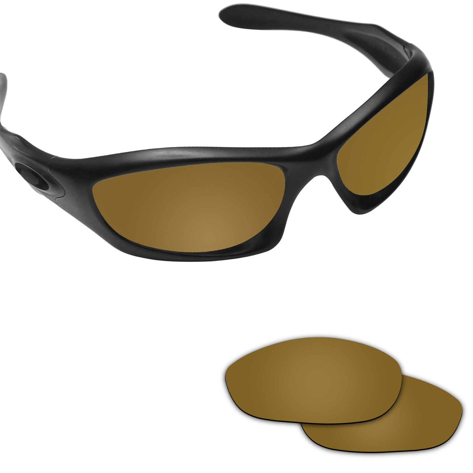 Fiskr Anti-saltwater Polarized Replacement Lenses for Oakley Monster Dog Sunglasses (Bronze Gold - Anti4s Mirror Polarized, 0) by Fiskr