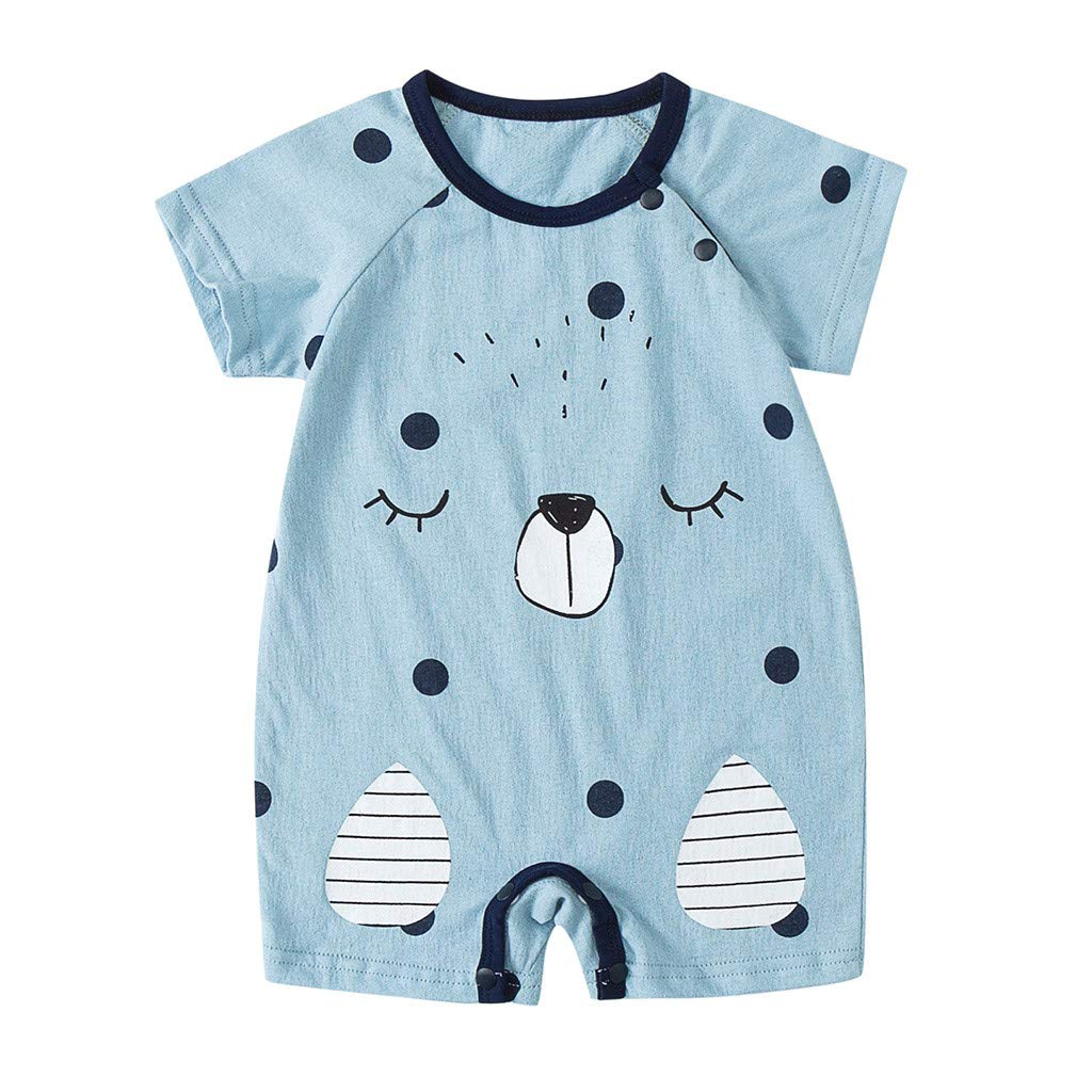 NUWFOR Newborn Baby Boy Girls Cartoon Infant Rompers Jumpsuit Outfits Clothes(Blue,9-12Months)