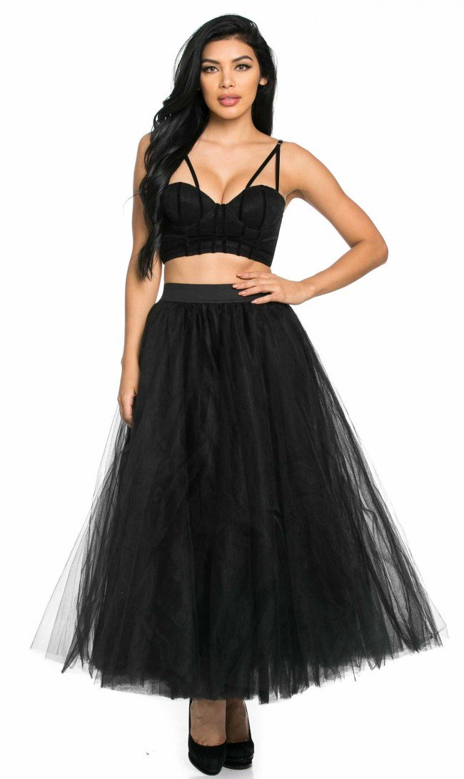 SOHO GLAM Structured Maxi Tulle Skirt in Black (Plus