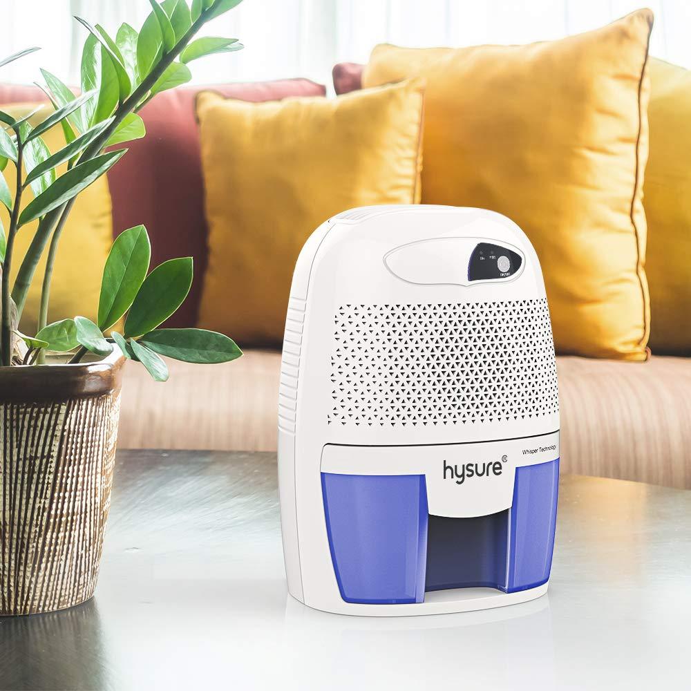 Compact Portable Damp Air Mold Moisture in Home Kitchen Bedroom Basement Caravan Office Garage Hysure Household Portable Dehumidifier 1400 Cubic Feet 150 sq ft Black 500ml