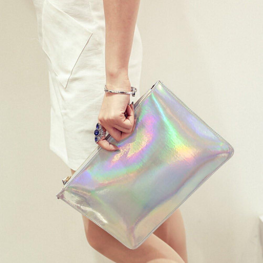 OULII Fashion Laser Holographic Laser PU Leather Envelope Clutch Handbag for Women Girls