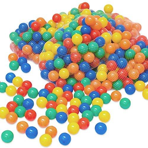 LittleTom 100 Bällebadbälle Ø 6cm Bälle-Set für Bällebad bunte Spielbälle Kinder-Bälle für Bällebad-Pool Plastikbälle Babybälle   5 gemischte Farben Gelb Rot Blau Grün Orange   geprüfte Qualität