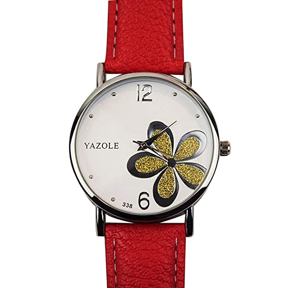 Bestow Relojes para Mujer Flor Moda Cuero Analšgico de Cuarzo Reloj de Pulsera de Las Mujeres Reloj(BlancoG): Amazon.es: Ropa y accesorios