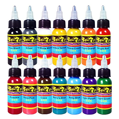 Solong Tattoo® 14 Colors Tattoo Ink Kit Pigment Set 1oz (30ml) Professional Tattoo Supply for Tattoo Kit TI301-30-14