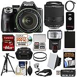 Pentax K-70 All Weather Wi-Fi Digital SLR Camera & 18-135mm WR Lens (Black) 55-300mm Lens + 64GB Card + Case + Flash + Battery + Tripod + Kit