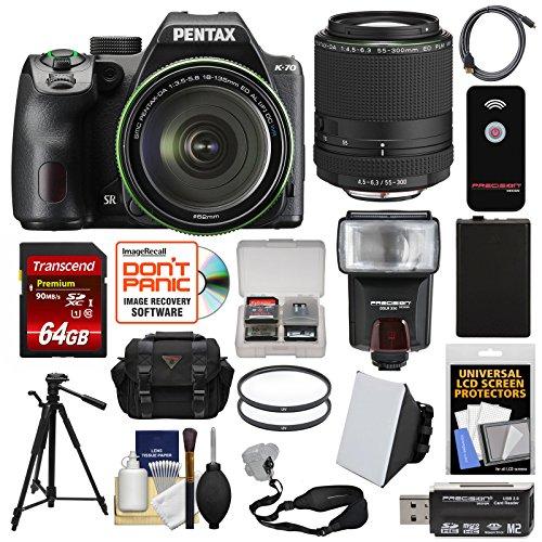 Pentax K-70 All Weather Wi-Fi Digital SLR Camera & 18-135mm WR Lens (Black) with 55-300mm Lens + 64GB Card + Case + Flash + Battery + Tripod + ()