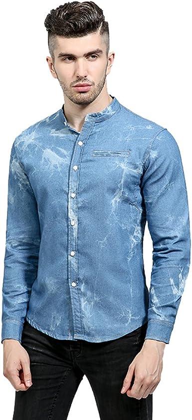 Anguang Hombre Largo Manga Mezclilla Camisa Destruido Pantalones Blusa Tops: Amazon.es: Ropa y accesorios