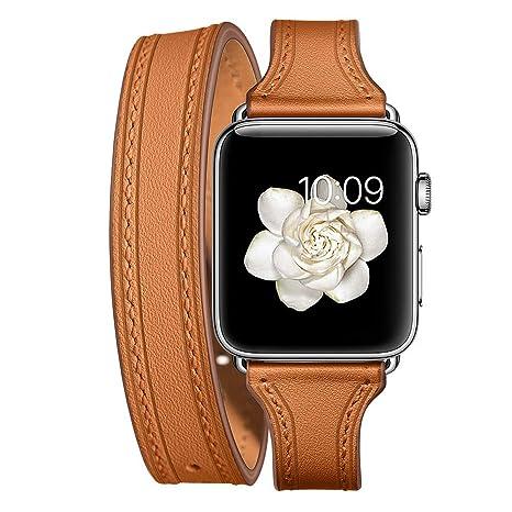 Fit Apple Watch Série 4, Diadia double tour Cuir Band Bracelet de  remplacement pour accessoires