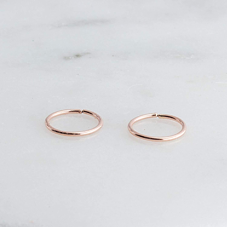 14K Rose Gold Filled Hoop Rings 6mm or 0.23 Inch 20 Gauge Hugging Tiny Handmade Earrings Upper Ear Piercing