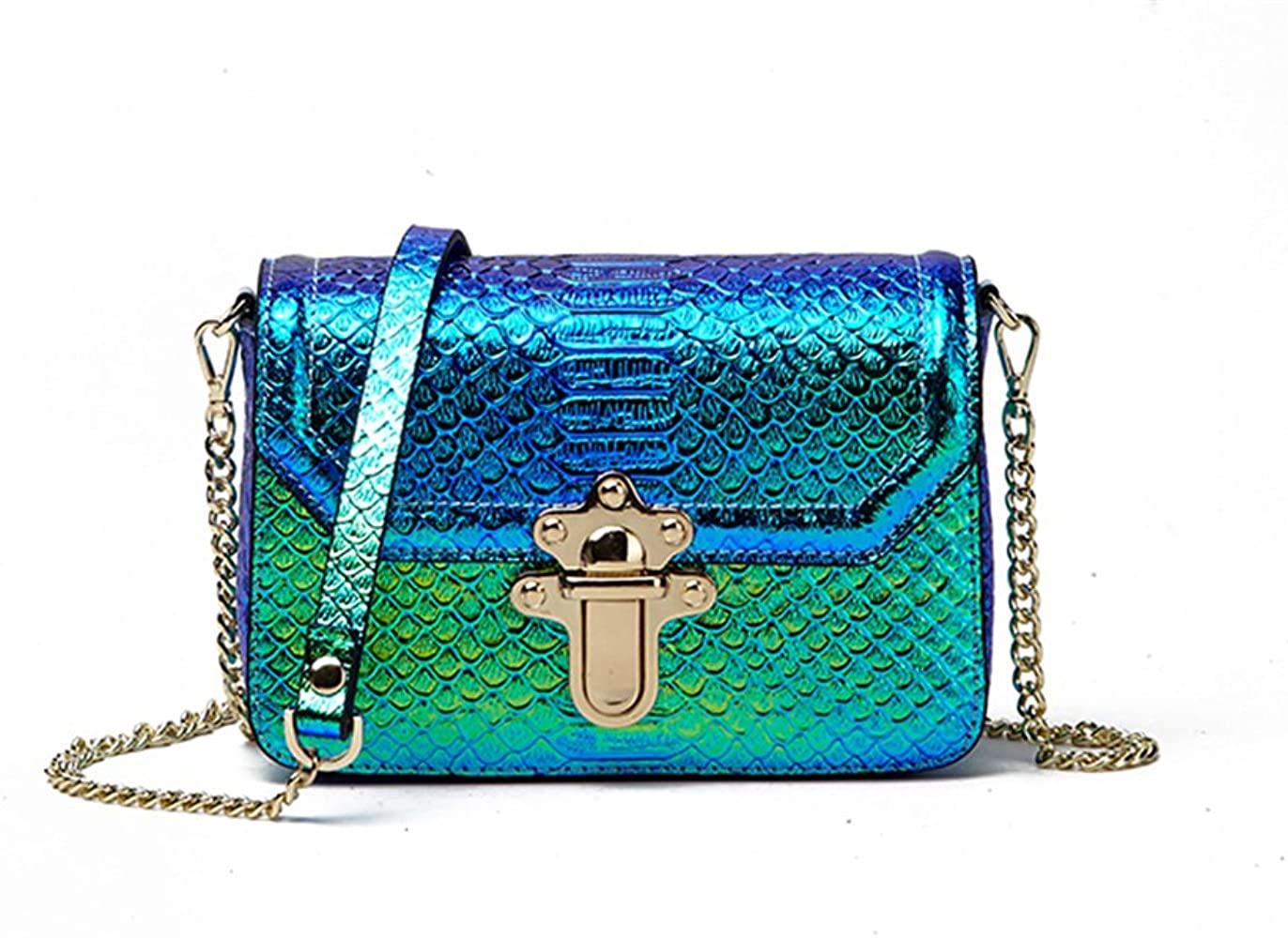 Holographic Snakeskin Crossbody Bag Real Leather Hologram Purse For Women Small Handbags Amazon Com