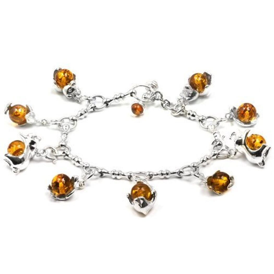 Sterling Silver Amber Round Beads Charms Chain Bracelet 7.5 Inches