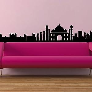 The Indian Skyline Wall Vinyl Sticker Art Poster Easy Peel & Stick Wall - Decor