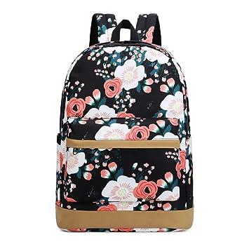 63a093dfee01 JIANYA Girls School Backpack Bookbags Outdoor Travel Backpack 14inch laptop  bag (Floral/Black)