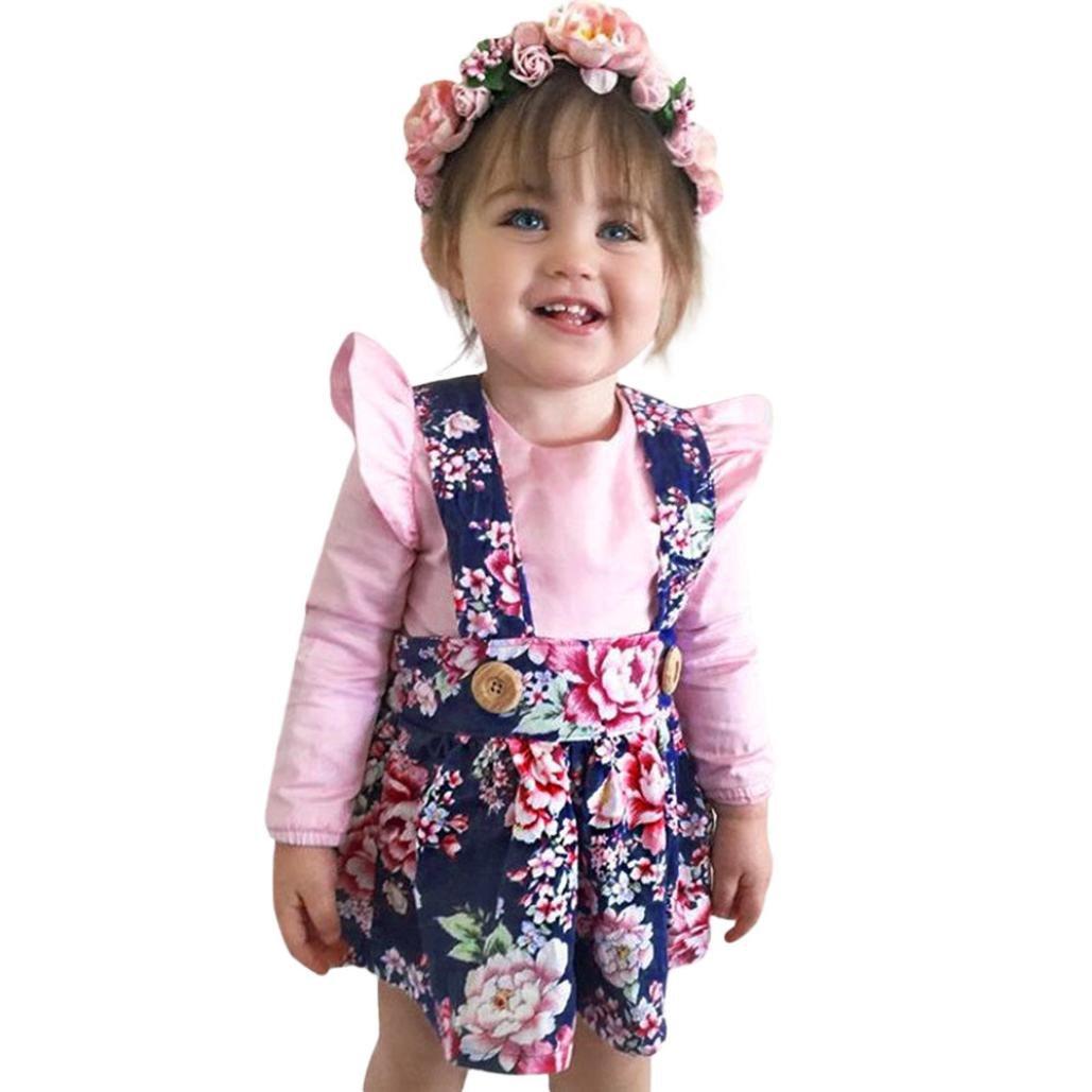 Hirolan Festliche Mädchenkleider Strampelanzug Kleinkind Prinzessin Blumen Kleid 2Stk Säugling Outfits Set Schöne Abendkleider Babykleidung Drucken Strampelhöschen