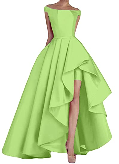 Promworld Womens Elegant High Low Evening Dress Ruffled Satin Prom Dresses Apple Green US2