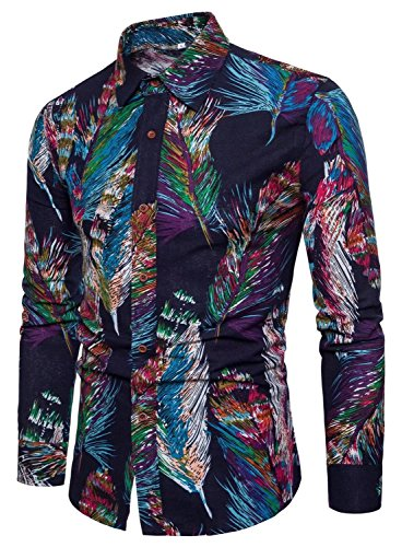 EMAOR Men's Long Sleeve Button Down Floral Dress Shirt Tops, 9#color, US Large = Tag 5XL