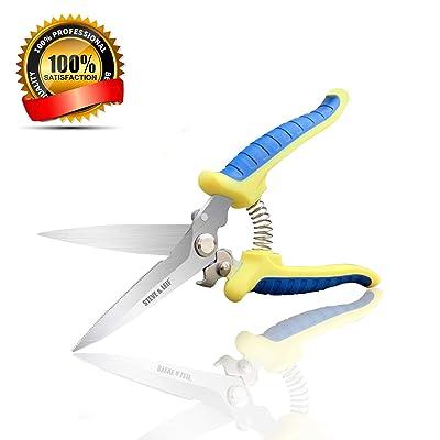"Steve & Leif 8"" Hand Pruning Shears, Heavy Duty Hand Pruner, Professional Garden Shears, Sharp Pruning Scissors, Garden Clippers, Garden Scissors : Garden & Outdoor"