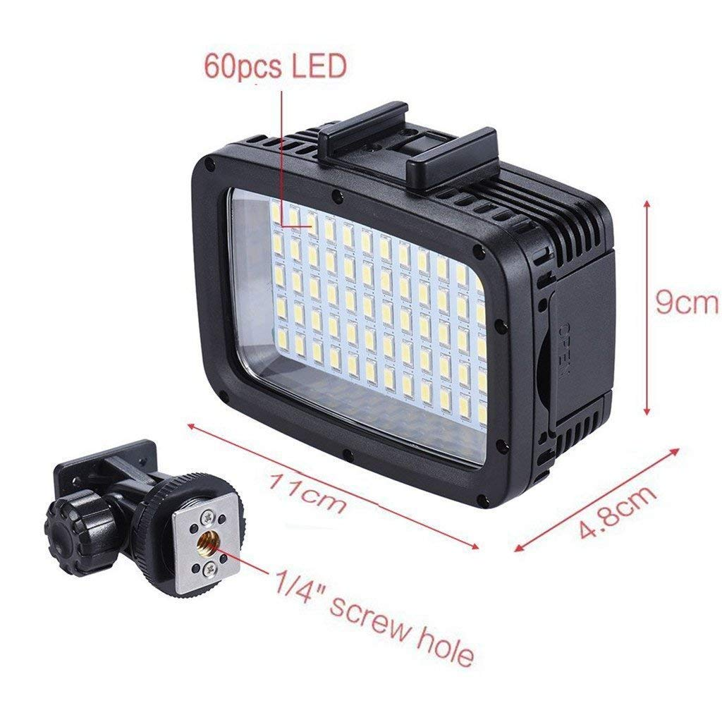 60pcs LED Diving Fill-in Light Ultra Bright 1800LM Waterproof Underwater 40m 5500K Video Studio Photo Lamp for Canon Nikon Sony DSLR Camera GoPro Hero Xiaomi Yi SJCAM Action Cam ... by MEIKON