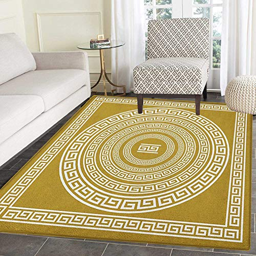 Greek Key Rug Kid Carpet Frieze with Vintage Ornament Meander Pattern from Greece Retro Twist Lines Home Decor Foor Carpe 2'x3' Goldenrod White