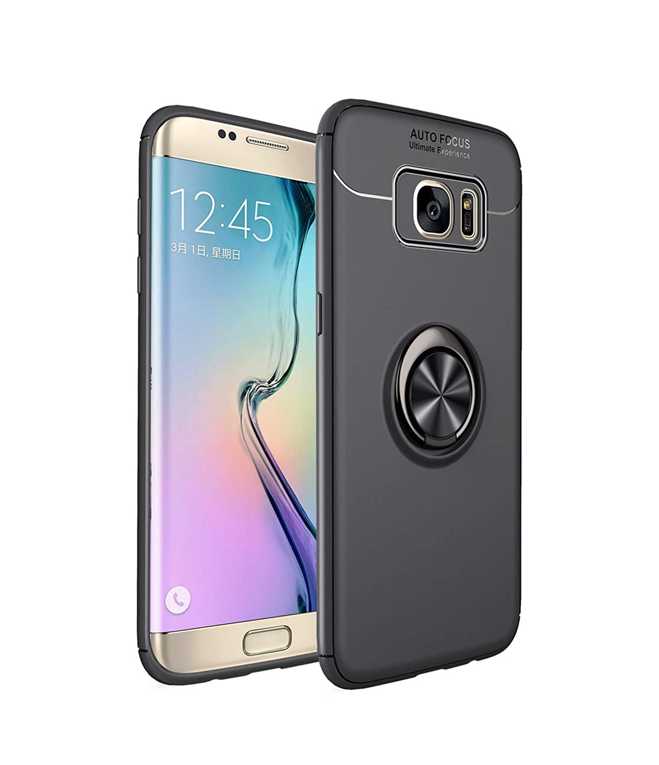 Heavy Armor Galaxy S7 Edge Case Ring Holder Kickstand Magnetic Base Dual Layer Car Mount Rotable Dual Layer Protective Hard Shell PC Bumper Galaxy S7 Edge (1, Galaxy S7 Edge)