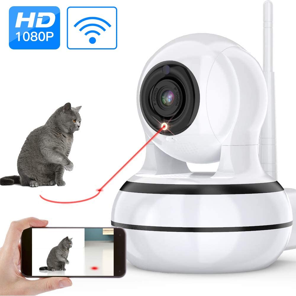Dog Camera, Pet Camera with Interactive Laser Toy Wireless Baby Monitor FHD 1080P WiFi Enabled Cat Camera 360° Indoor Security Camera 160°Wide Angle 2-Way Audio Night Vision Sound Motion Alert for Pet