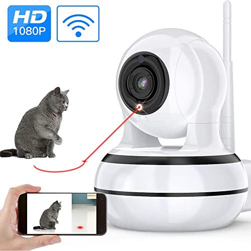 Dog Camera, Pet Camera with Interactive Laser Toy Wireless Baby Monitor FHD 1080P WiFi Enabled Cat Camera 360 Indoor Security Camera 160 Wide Angle 2-Way Audio Night Vision Sound Motion Alert for Pet