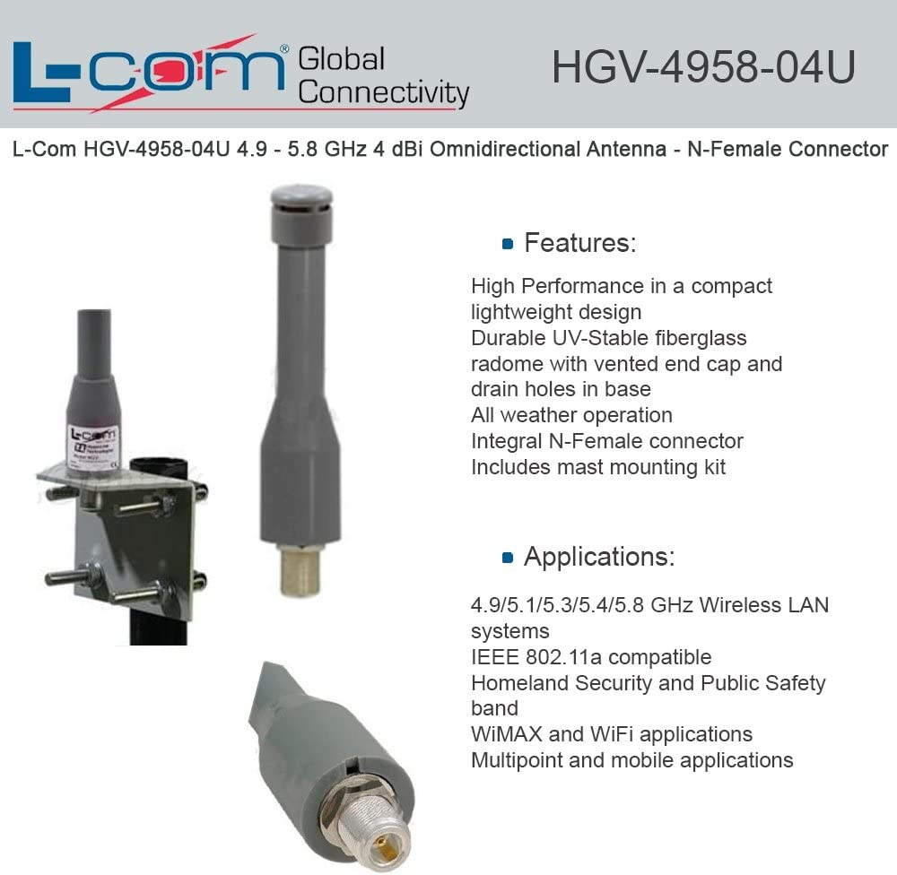 N-Female Connector L-com 4.9-5.8 GHz 9 dBi Omnidirectional Antenna