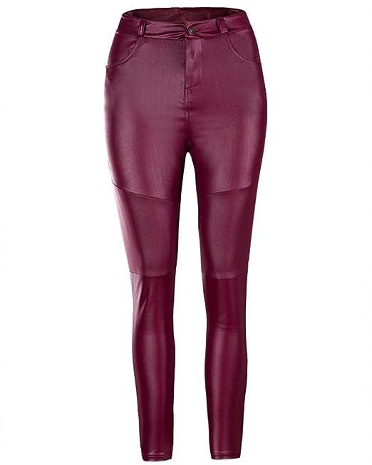 fc100e846ca9 Mujer Leggings Elegantes Moda Vintage Primavera Otoño Leggins Cuero ...