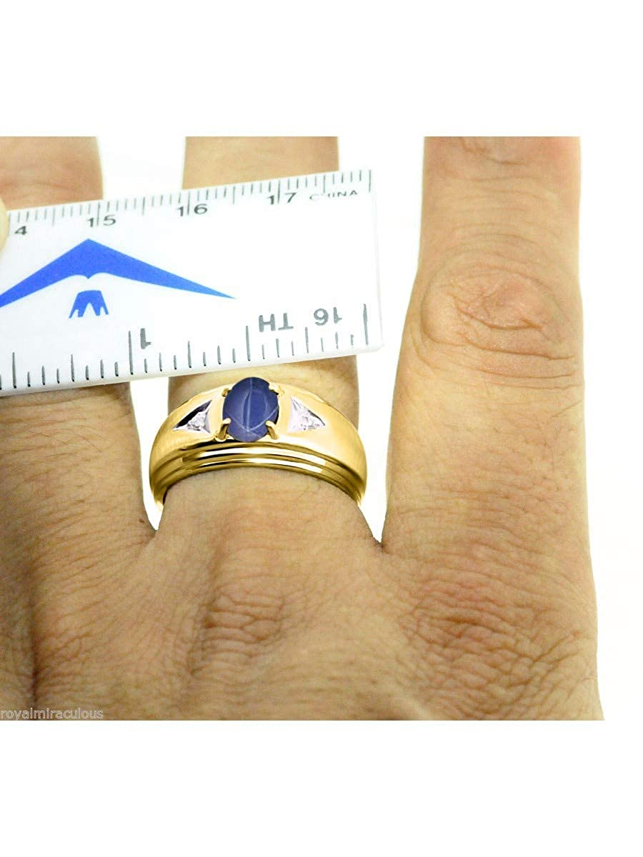 RYLOS Mens Classic Oval Gemstone /& Genuine Sparkling Diamond Ring in 14K Yellow Gold Plated Silver .925-8X6MM Color Stone