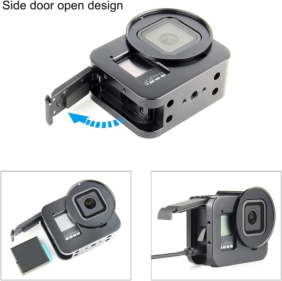 Includes Lens Cap and 52mm UV Lens Filter SOONSUN Aluminum Alloy Multi-Function Frame Mount Protective Housing Case with Vertical and Horizontal Modes for GoPro Hero 8 Black
