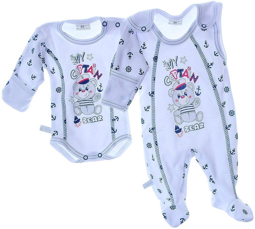 STRAMPLER und Hemdchen SET Baby Kombi 50 56 62 68 74 Weiß Blau Bär Anzug Shirt