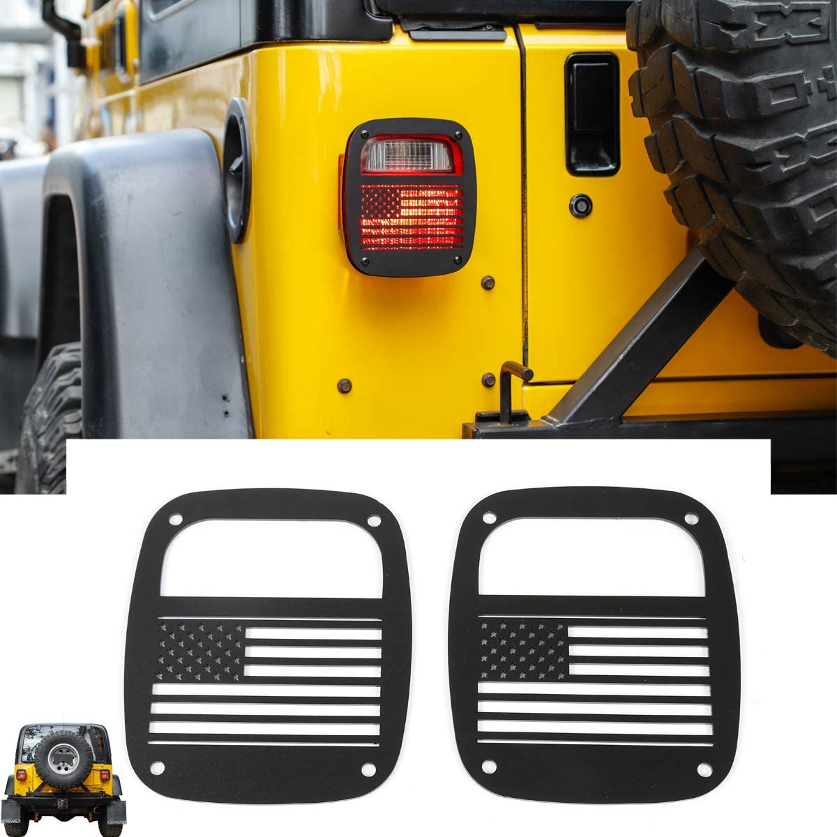 RT-TCZ Metal Tail Light Guards Covers for Rear Taillights 1987-2006 Jeep Wrangler YJ TJ Accessories TJ-US Flag