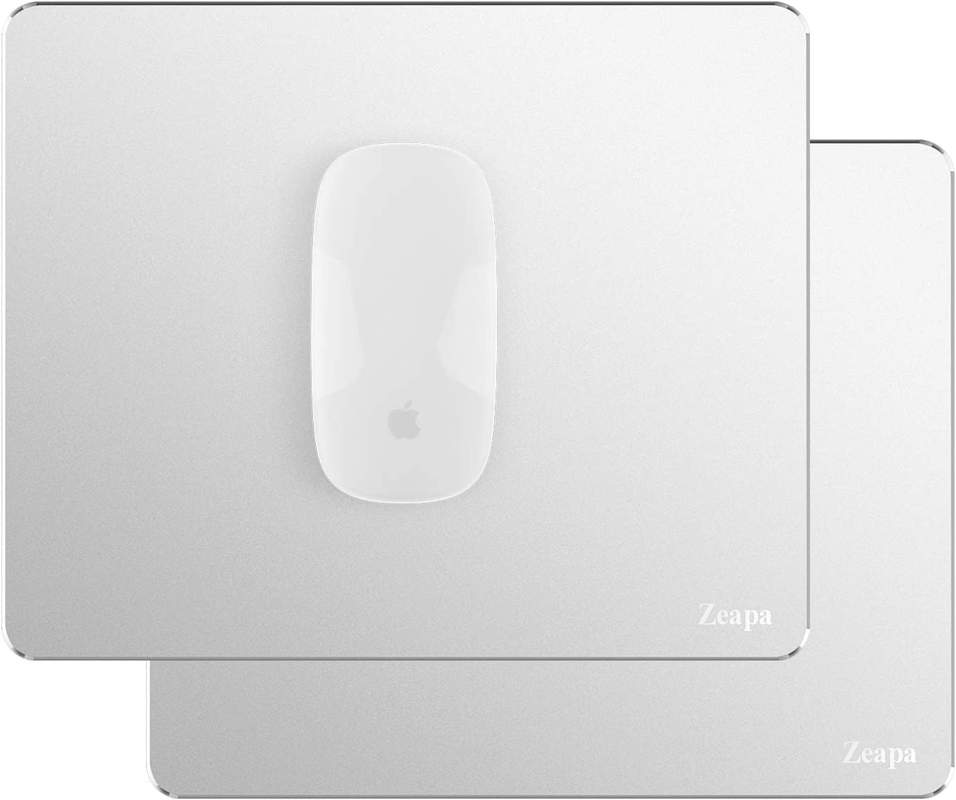 Ultra-Quiet Sleek Thin Non-Slip Hard Silver Metal Aluminum Apple Mouse Pad, Rubber Bottom, Clean and Sanitize Easily, Waterproof, 8.7x7.1in, 2-Pack