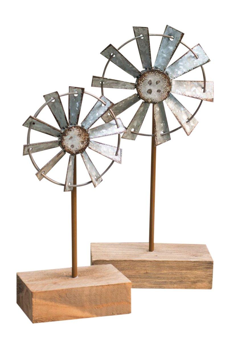 Craft House Designs Decorative Windmill Tabletop Finial Set Rustic Farmhouse Home Decor