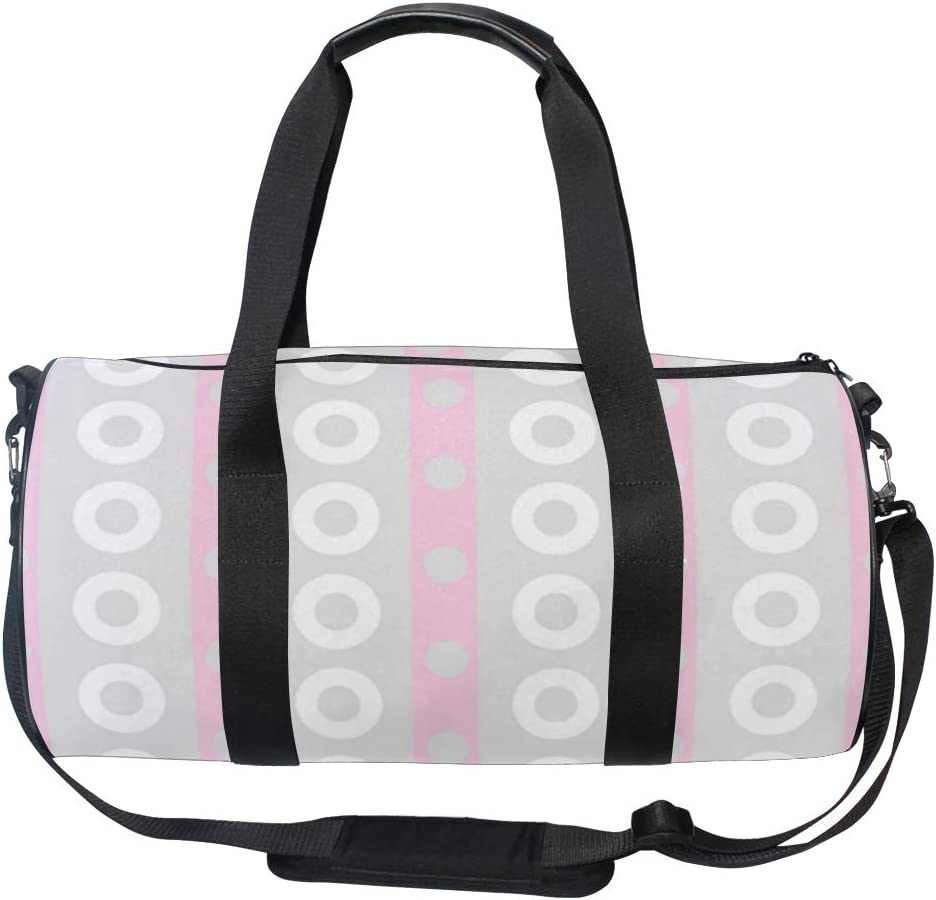 MALPLENA In Line White Circle Drum gym duffel bag women Travel Bag