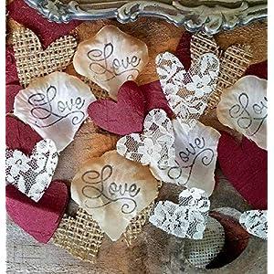Burlap and Lace Silk Rose Petals Burgundy, Wedding Table Confetti 2