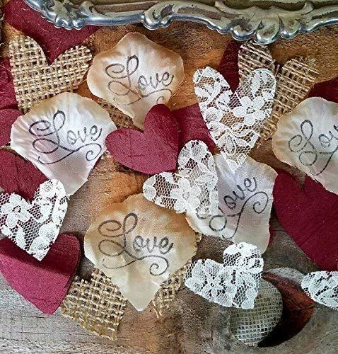 Burlap-and-Lace-Silk-Rose-Petals-Burgundy-Wedding-Table-Confetti