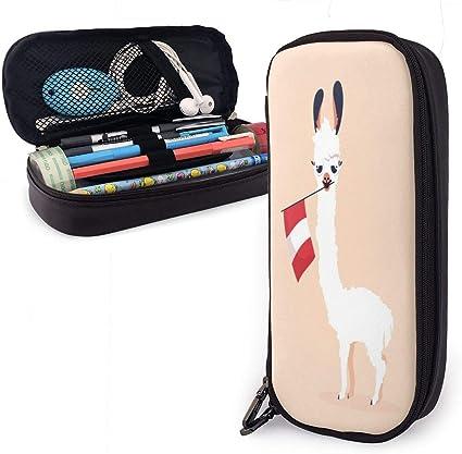 Estuche para lápices con diseño de Lama de dibujos animados y bandera de Perú, estuche para bolígrafos, estuche antichoque para estudiantes, niñas, adolescentes, niños y adultos, estuche de piel: Amazon.es: Oficina y