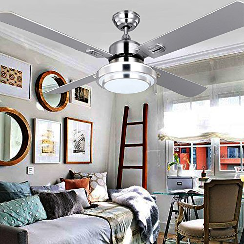 RainierLight Silver Stainless Steel Ceiling Fan Household Decorative for Indoor with Remote Control LED 3 Changing Light Chandelier Lighting Fixture (42inch) by RainierLight