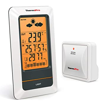 617f29e8b ThermoPro TP67 Estación Meteorológica Recargable Inalámbrica Termómetro  Higrómetro Digital para Interior y Exterior con Sensor Resistente al frío e  ...