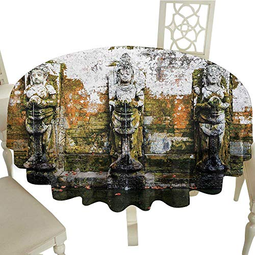 Curioly Balinese Printed Tablecloth Fountain in Ancient Temple Bali Asia Tropics Landmark Travel Destinations Photo Desktop Protection pad D59.05 Inch Green White