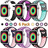 Haveda Sport Bands Compatible for Apple Watch 40mm Series 4, iwatch Bands 38mm Womens Silicone Strap for Apple 4 Watch, iWatch Series 4/3/2/1, Women Men Kids 38mm/40mm S/M 6Pack-1