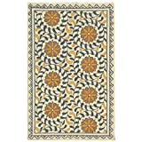 Safavieh Chelsea Collection HK150A Hand-Hooked Ivory and Blue Premium Wool Area Rug (2'6' x 4')